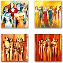 Mia Morro Abstrakt Bilder Set B, 4 Teiliges Bilder Set Jedes Teil 19x19cm