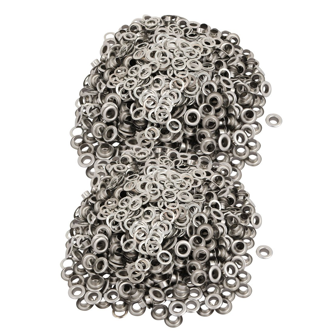 uxcell 1000pcs 6mm Inner Dia 201 Stainless Steel Eyelet Grommets w Washers for Clothes Leather