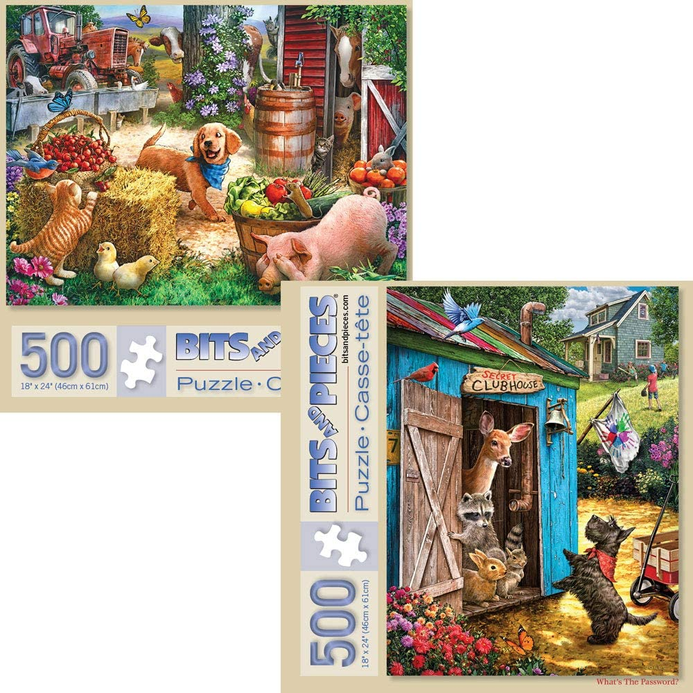 Bits and Pieces - Value Set of Two (2) 500 Piece Jigsaw Puzzles for Adults - Each Puzzle Measures 18