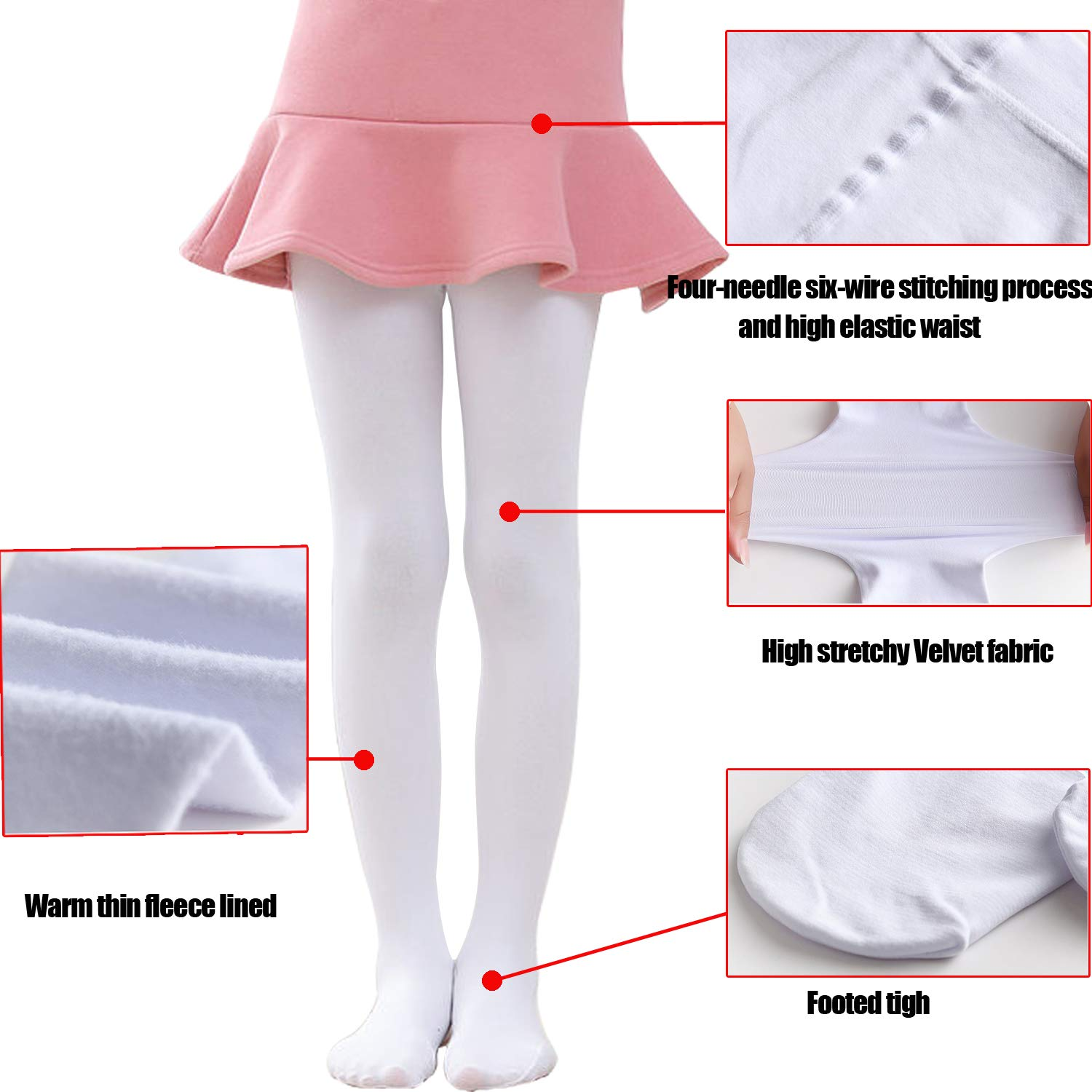 Tulucky Girls Soft Pro Dance Tight Warm Thin Fleece Lined Ballet Footed Leggings