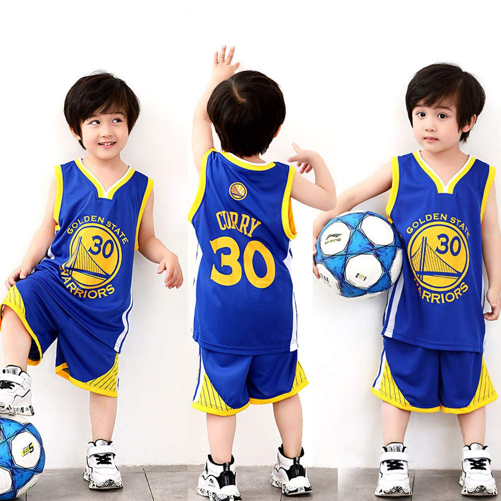 XCR NBA Warriors Curry 30th Golden State Baloncesto Camisetas Costume Traje Basketball Jersey Niños Chicos Chicas Hombres Costume Kit Set Retro Shorts ...