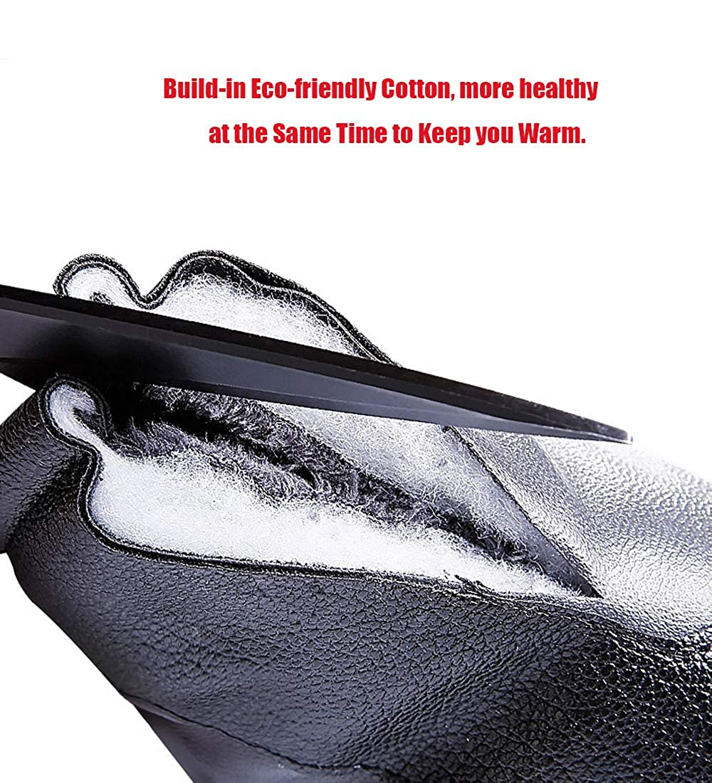 King Star Mens Touchscreen PU Leather Winter Gloves Driving Ski Fleece Lining