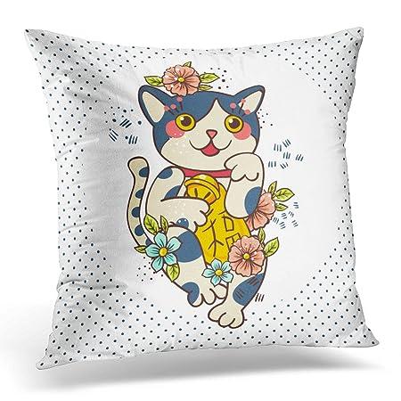 Sdamas - Funda de almohada decorativa con diseño de gato japonés y ...