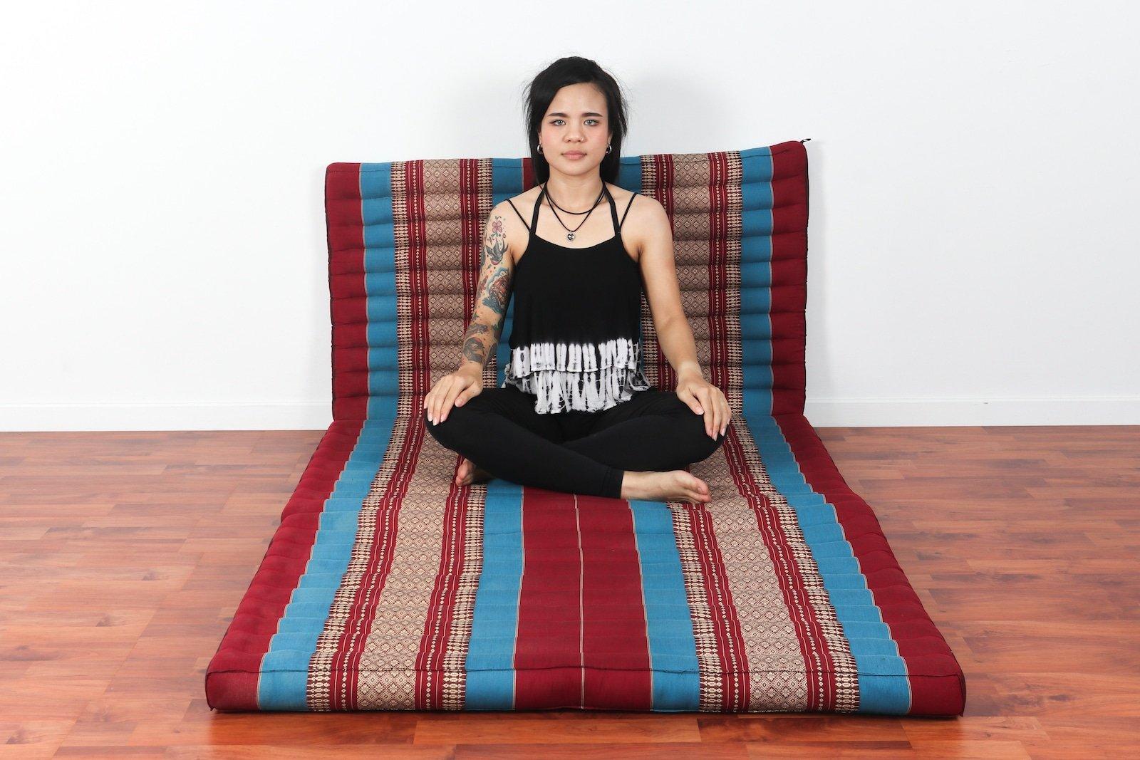 Leewadee Thai Massage Mat XL, 82x46x3 inches, Kapok, Blue red by Leewadee (Image #4)