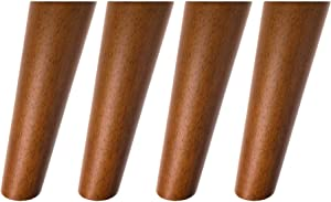 Round Solid Wood Furniture Legs Sofa Replacement Legs Perfect for Mid-Century Modern/Great IKEA hack for Sofa, Couch, Bed, Coffee Table (7 Inches,Set of 4, Walnut Color)