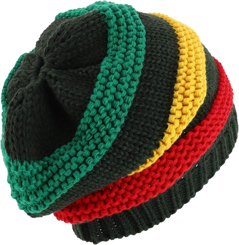 Armycrew Ribbed Knit Winter Rasta Jamaica Ponytail Deep Slouchy Beanie Dk Green Rasta