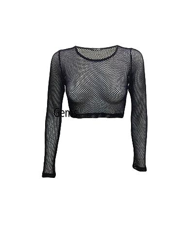 T-shirt, gilet, crop top, pizzo a rete, a maniche lunghe, elasticizzata