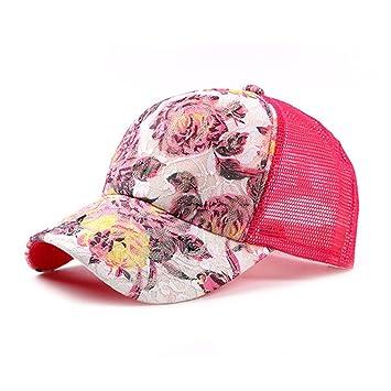 Llxln Malla Floral Moda Mujer Gorras Gorra Ajustable Novedad Lace Casquette NY Gorras Deportivas Al Aire Libre En Verano Sun Hat Cap,Rosa Roja: Amazon.es: ...