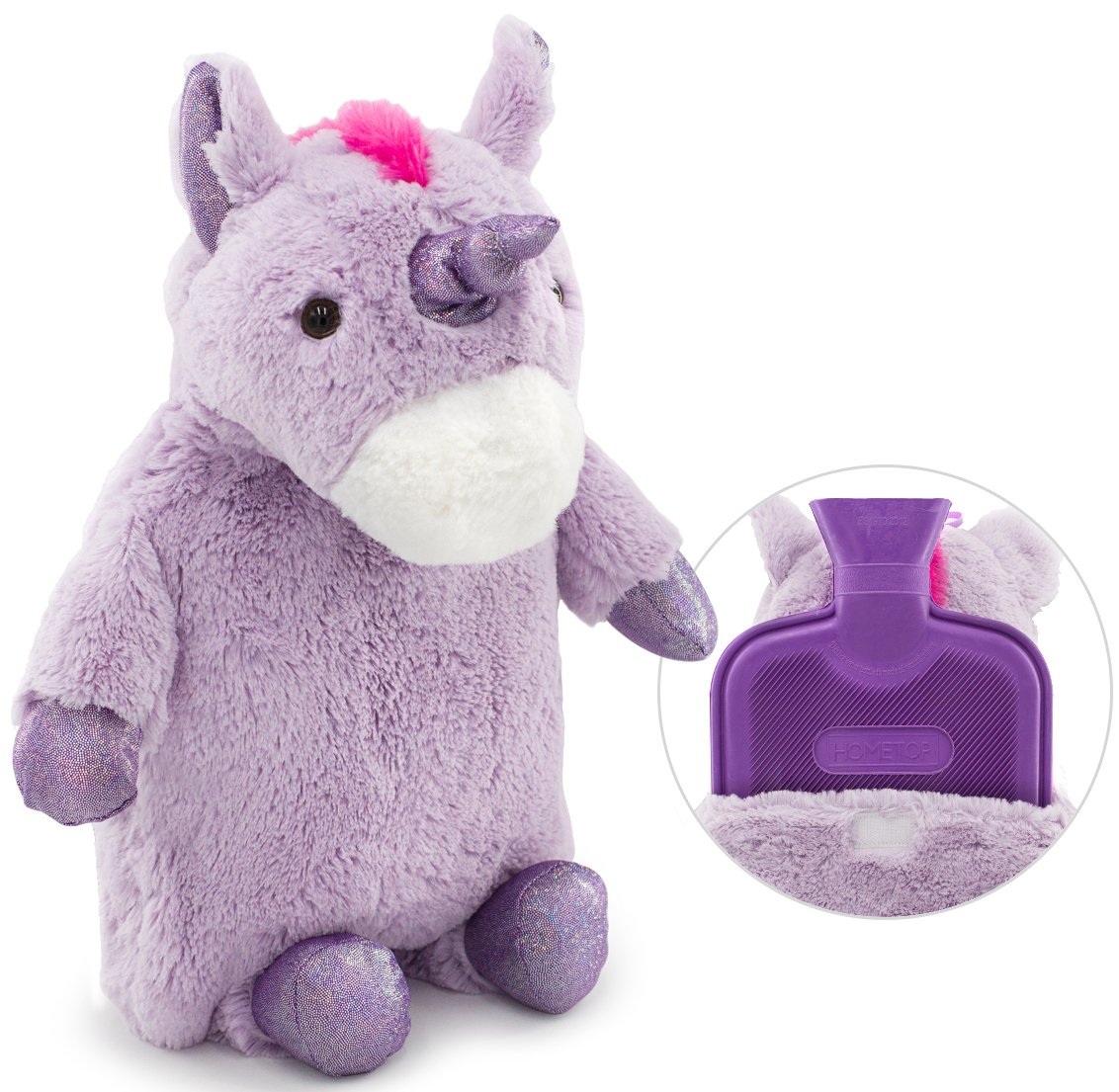HomeTop Premium Classic Rubber Hot Water Bottle with Cute Unicorn Cover (2L, Purple)