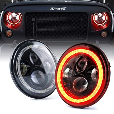 Xprite 7 Inch 90W LED Headlights With Red Halo for 1997-2020 Jeep Wrangler JK TJ LJ(DOT Approved), CREE LED Chip, 9600 Lumens Hi/Lo Beam with Halo Ring Angel Eyes: Automotive
