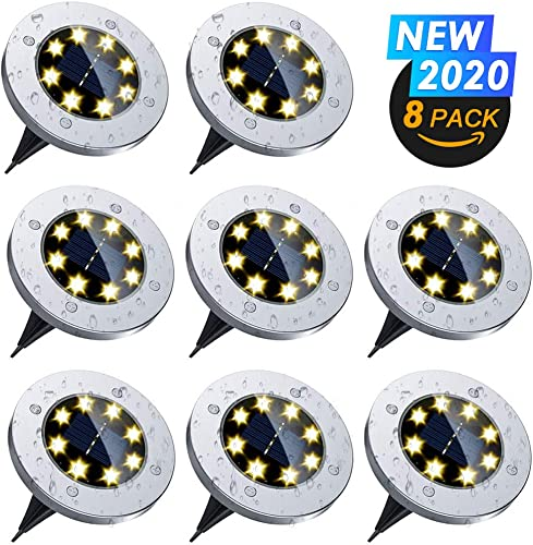 Solar Ground Lights, Warm White 8 LED Solar Disk Lights Waterproof In-Ground Outdoor Landscape Lighting for Garden Yard Patio Pathway Lawn Driveway Walkway 8 Pack