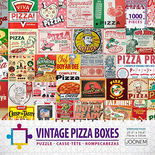Vintage Pizza Boxes Collage: Play Large 1000 Piece Jigsaw Puzzle Photo Collage Art WIth Pizza Boxes From Around the Globe For Adults By Joonem Puzzles