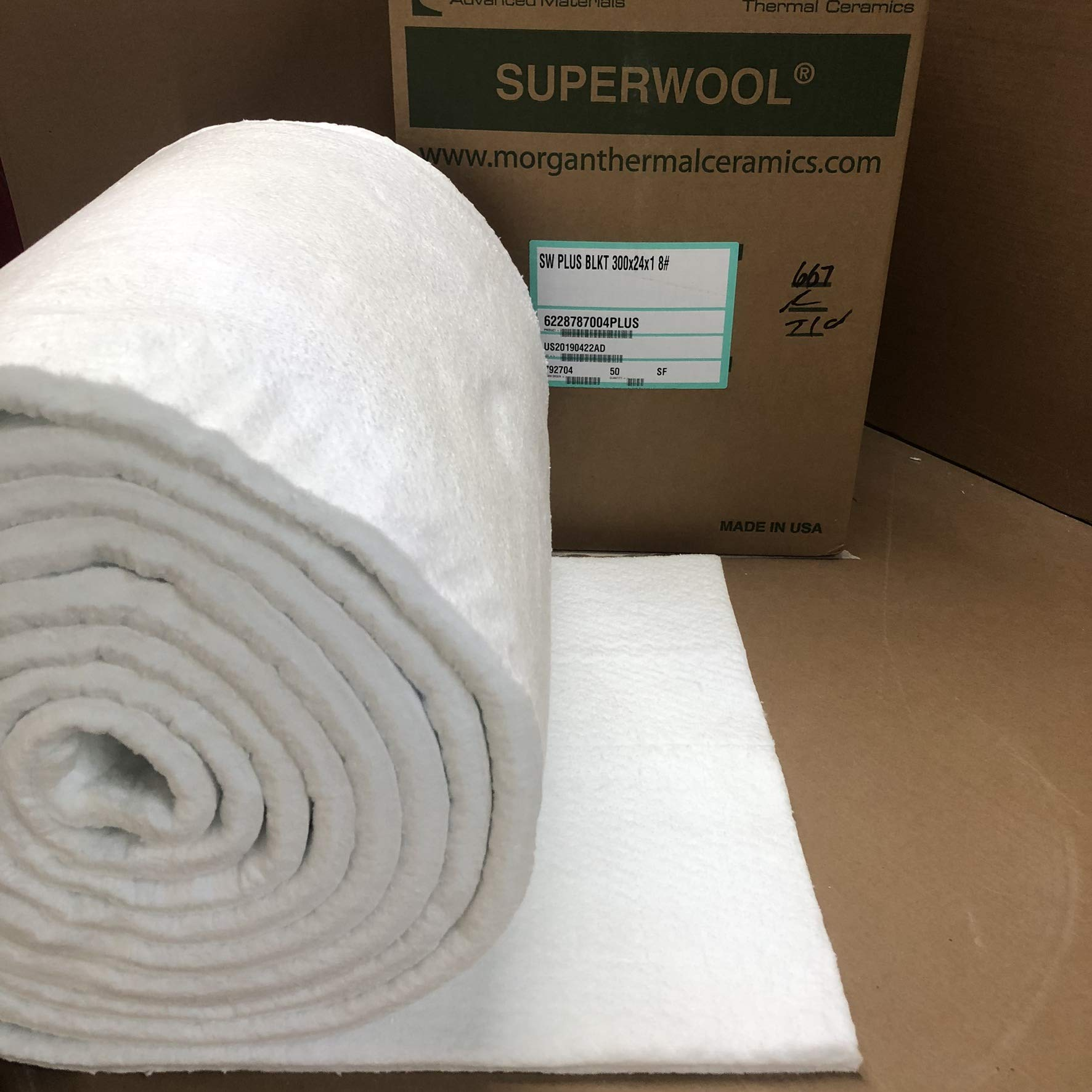 Lynn Manufacturing 1'' Thick, Superwool Plus Blanket, Morgan Thermal Ceramics, 2100F Rated, 8 Lb. Density, 24'' Wide, 25 Ft. Long by Lynn Manufacturing