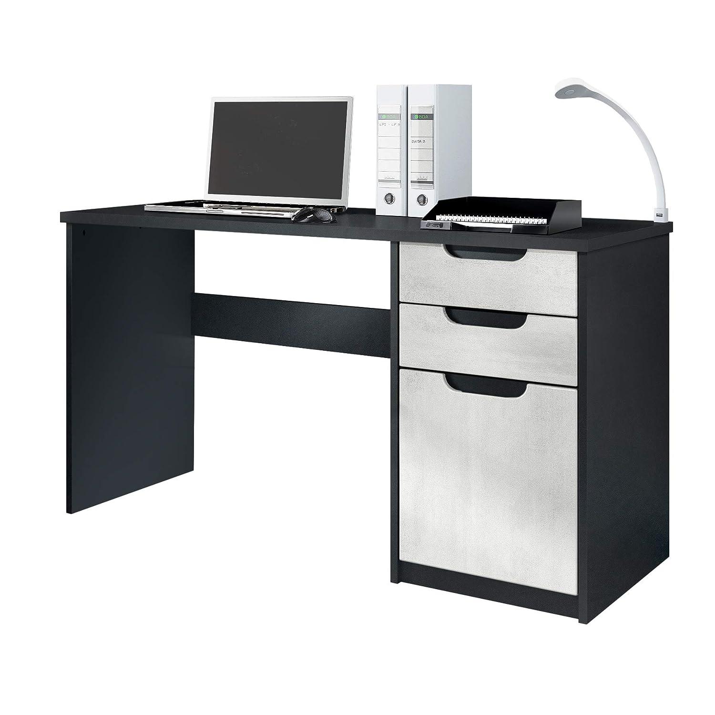 Peachy Vladon Desk Bureau Office Furniture Logan Carcass In Black Matt Fronts In Concrete Grey Oxid Home Interior And Landscaping Pimpapssignezvosmurscom