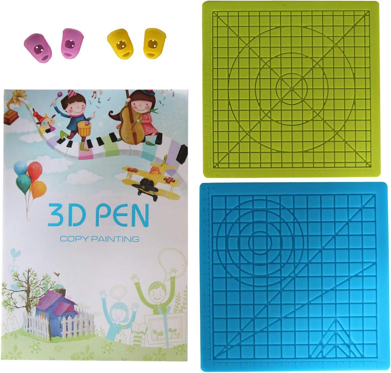 ecc. penna 3D per stampa 3D il miglior strumento per 3Doodler // Tecbossd 2 set con 1 libro con 40 motivi e 2 coperture per le dita Lihuachen