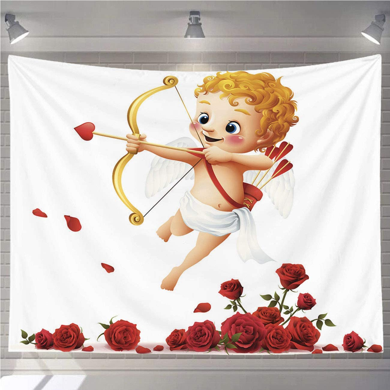OTTOSUN Cupid Tapestry Wall Hanging,Cupid Roses,Wall Art for Living Room Bedroom Home Decor,80x60 in