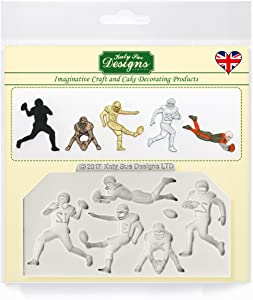 American Football Silhouettes Silicone Mold for Cake Decorating, Crafts, Cupcakes, Sugarcraft, Candies, Chocolate, Card Making and Clay, Food Safe Approved, Made in the UK