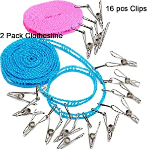 Clotheslines 2 Pack Camping Clothesline with 16 pcs Metal Clips Drying Rope Portable Windproof Travel for Hotels Clothes Drying line Clothing Rack Outdoor Clothesline Laundry Clothes Line