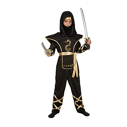 My Other Me Me-204887 Disfraz de ninja para niño, Color negro, 10-12 años (Viving Costumes 204887