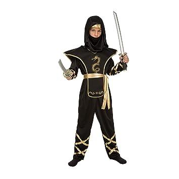 My Other Me Me-204886 Disfraz de ninja para niño, Color negro, 7-9 años (Viving Costumes 204886
