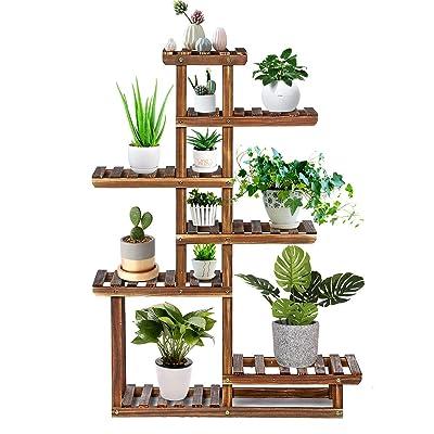 TOOCA Wood Plant Stand Indoor, 44'' 7-Tier Outdoor Tall Plant Stand, Flower Pot Stand, Multiple Tier Plant Display Rack Holder, Steady Vertical Carbonized Shelves for Patio Livingroom Balcony Garden : Garden & Outdoor
