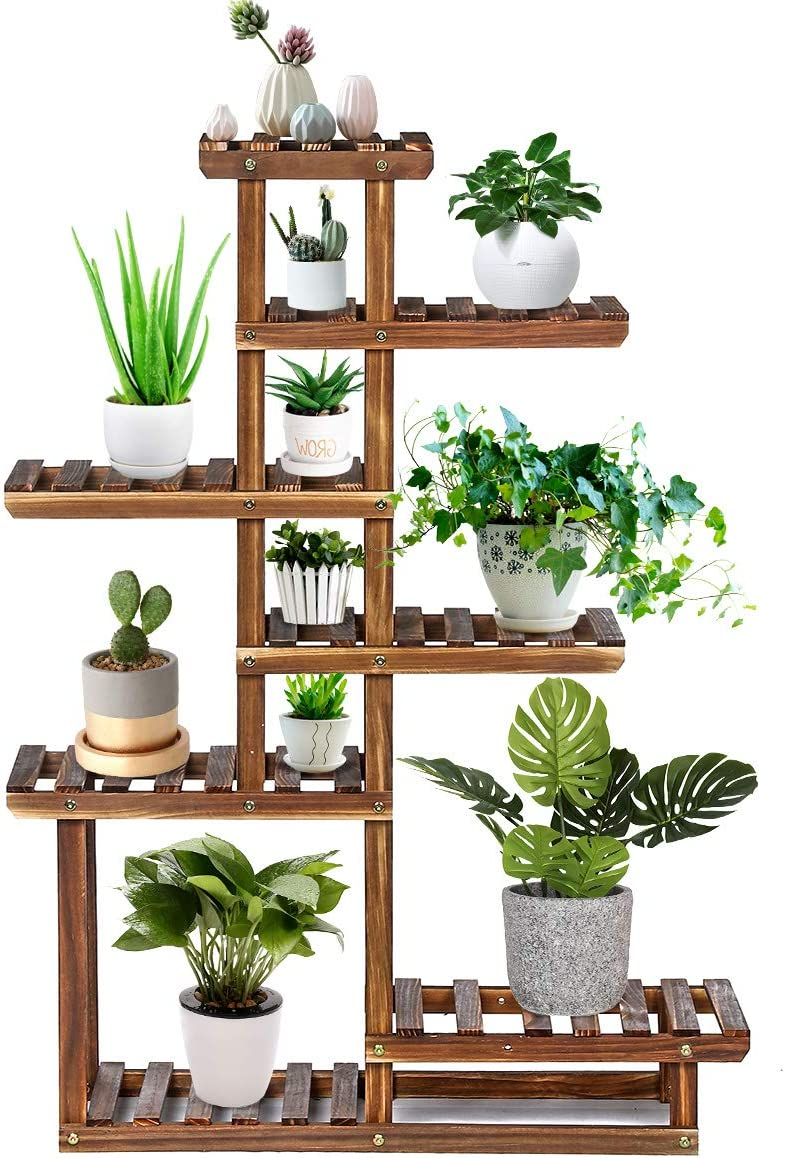 Amazon Com Tooca Wood Plant Stand Indoor 44 7 Tier Outdoor Tall Plant Stand Flower Stand Multiple Tier Plant Display Rack Holder Steady Vertical Carbonized Shelves For Patio Livingroom Balcony Garden