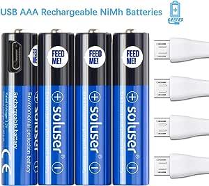 500mAh AAA de Alta Capacidad Ni-MH 1200 Ciclo de Pilas Recargables para los Equipos Domésticos con Estuches de Almacenamiento (4 Piezas): Amazon.es: Electrónica