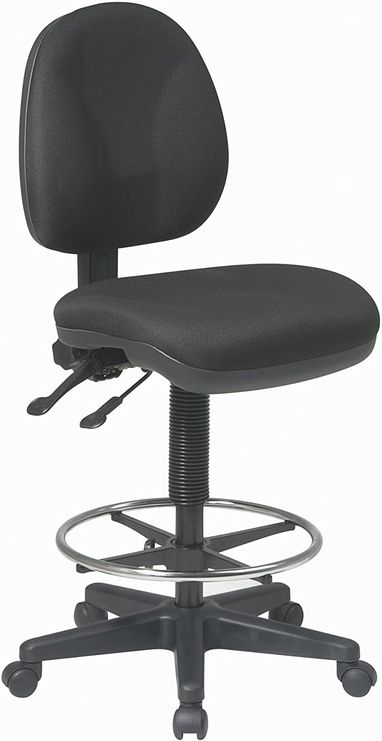 B003UH8UYS Office Star Deluxe Ergonomic Seat and Back Pneumatic Drafting Chair with Lumbar Support and Adjustable Chromed Footring, Black 71aWUBaYZEL.SL1500_