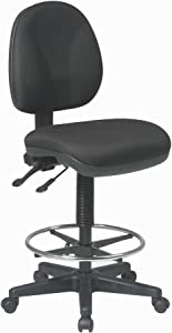 Office Star Deluxe Ergonomic Seat and Back Pneumatic Drafting Chair with Lumbar Support and Adjustable Chromed Footring, Black