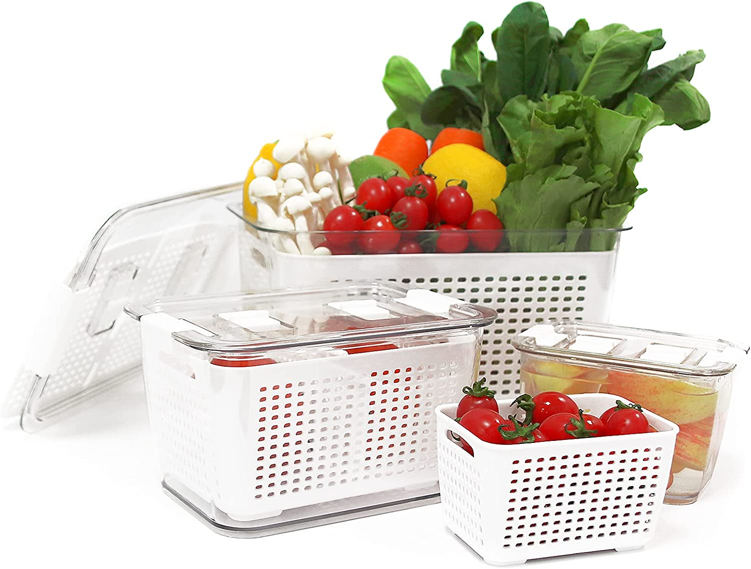 Fresh Container, Fresh Produce Saver, Veggie Food Fruit Storage Containers for Refrigerator, 3 Pack Fridge Organizer Keeper with Removable Drain Tray, Stackable Freezer Bins For Kitchen- White