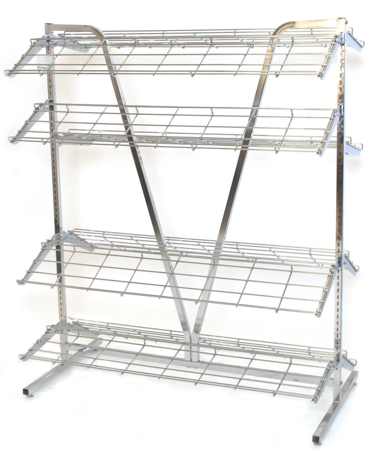 KC Store Fixtures 28620 Shoe Rack, 2-Sided, 4' Wide x 66'' High and Includes 8'-12' Deep Shelves, Chrome