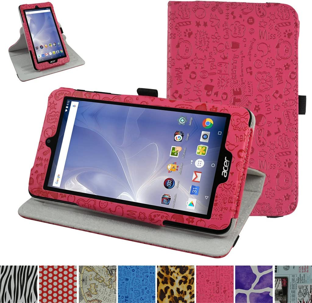 "Acer B1-780 / B1-790 Rotating Case,Mama Mouth 360 Degree Rotary Stand with Cute Cover for 7"" Acer Iconia One 7 B1-780 / Iconia One 7 B1-790 Android Tablet,Rose Red"