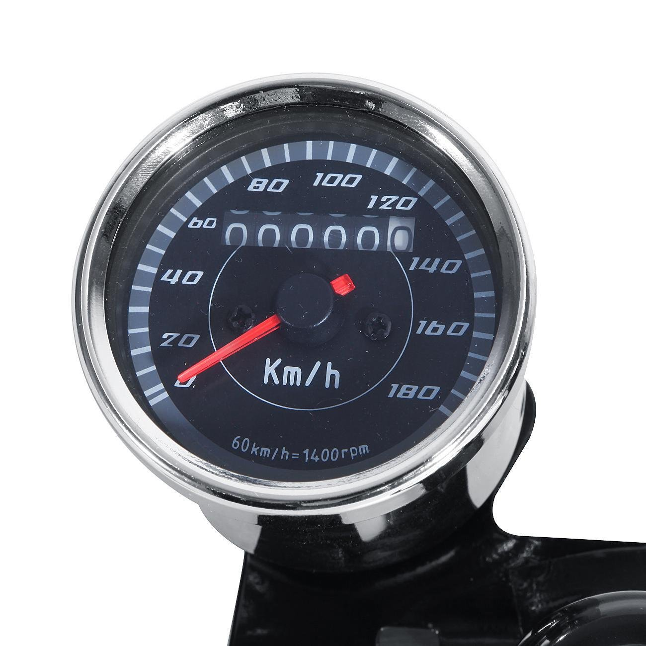 INNOGLOW Motorcycle Backlit Speedometer Tachometer Kit with Bracket,High Capacity Scale,Full-Sweep red Index,0-13000RPM,0-180km/h by INNOGLOW (Image #5)