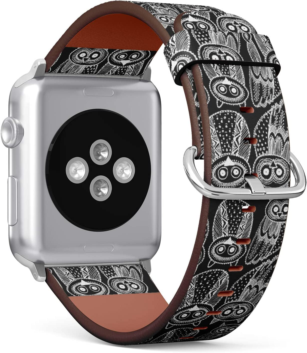 Compatible with (38/40mm) Apple Watch iWatch Serie 6,5,4,3,2,1 - Replacement Leather Wristband Watch Band Strap Bracelet for Men and Women - Decorative Hand Dravn Cute Owl
