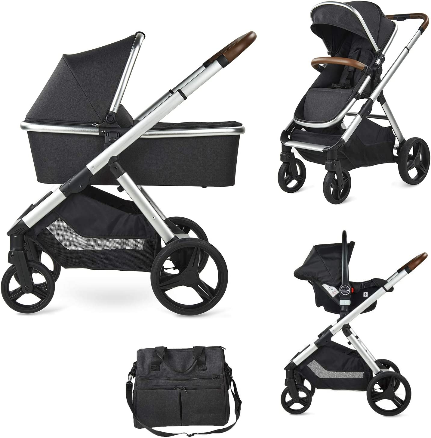 Group 0 Plus and Changing Bag Grey Carrycot Chair Babify One Plus 3-in-1 Baby Stroller
