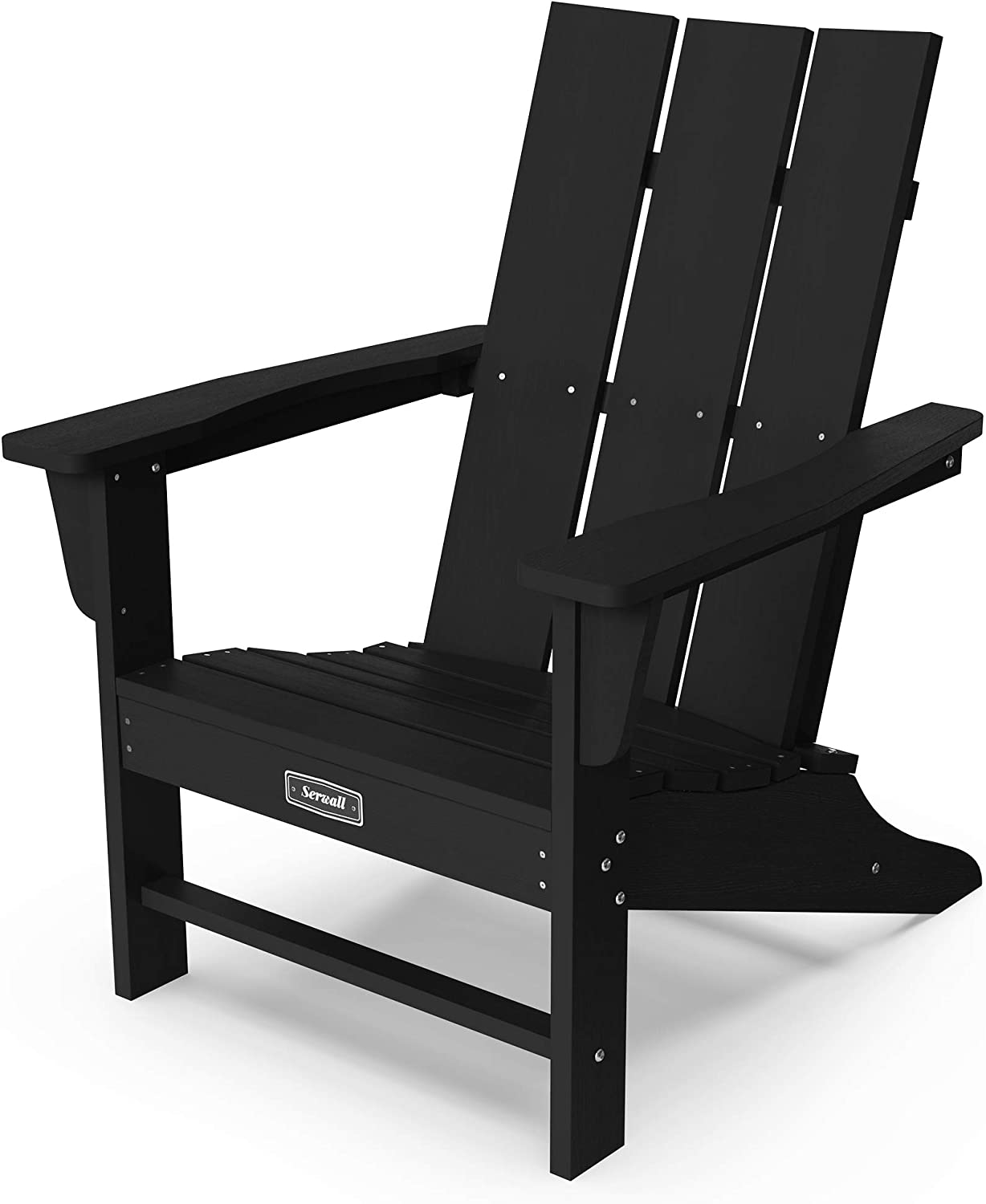 SERWALL Adirondack Chair Plastic Outdoor Classic Chair Weather Resistant for Patio Garden-Black