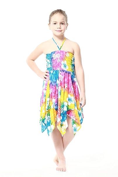 Niña gitano Botón desigual Hawaiian Luau vestido en Arco iris floral: Amazon.es: Ropa y accesorios