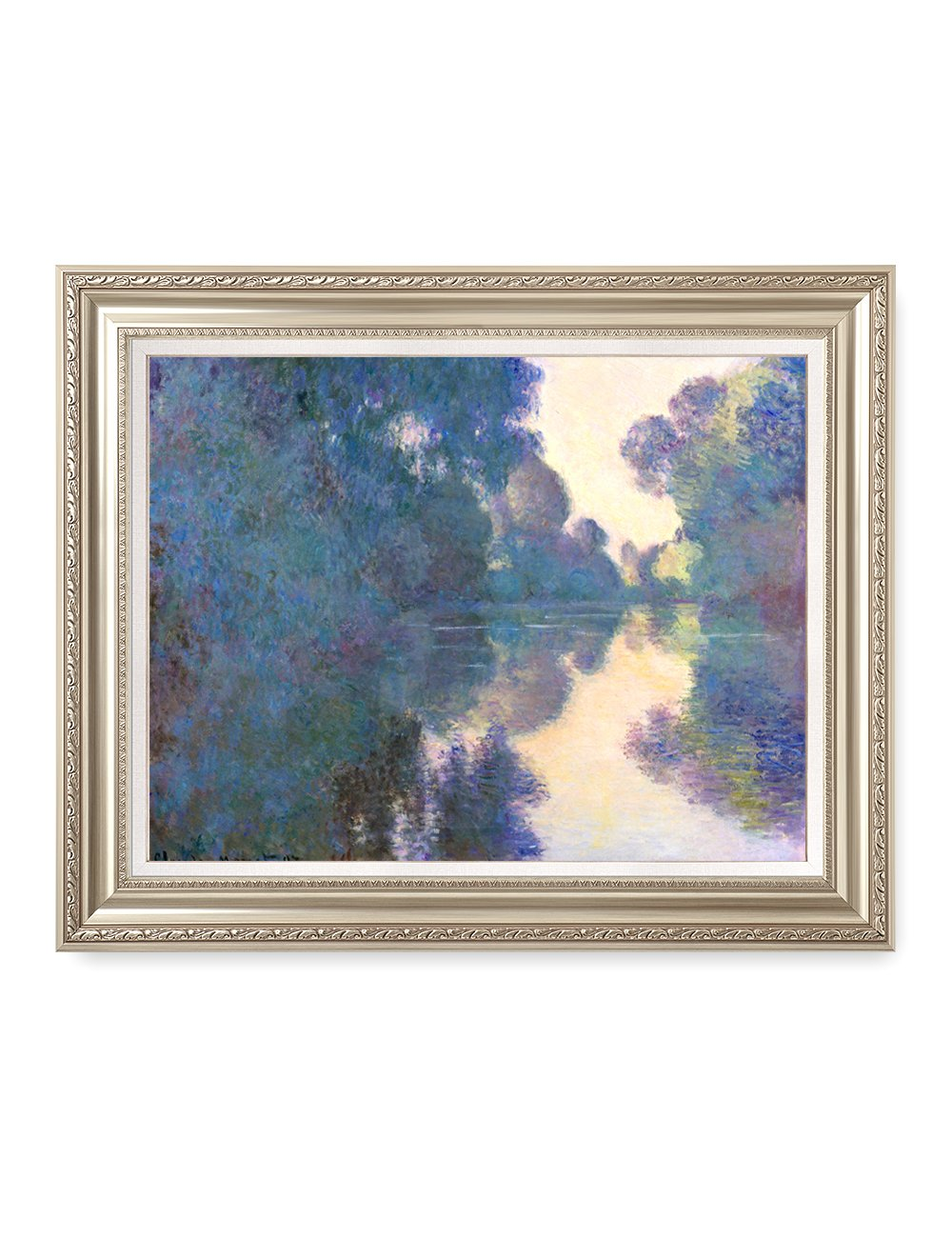 DecorArts - Morning on the Seine near Giverny Claude Monet Art Reproduction. Giclee Print& Museum Quality Framed Art for Wall Decor.