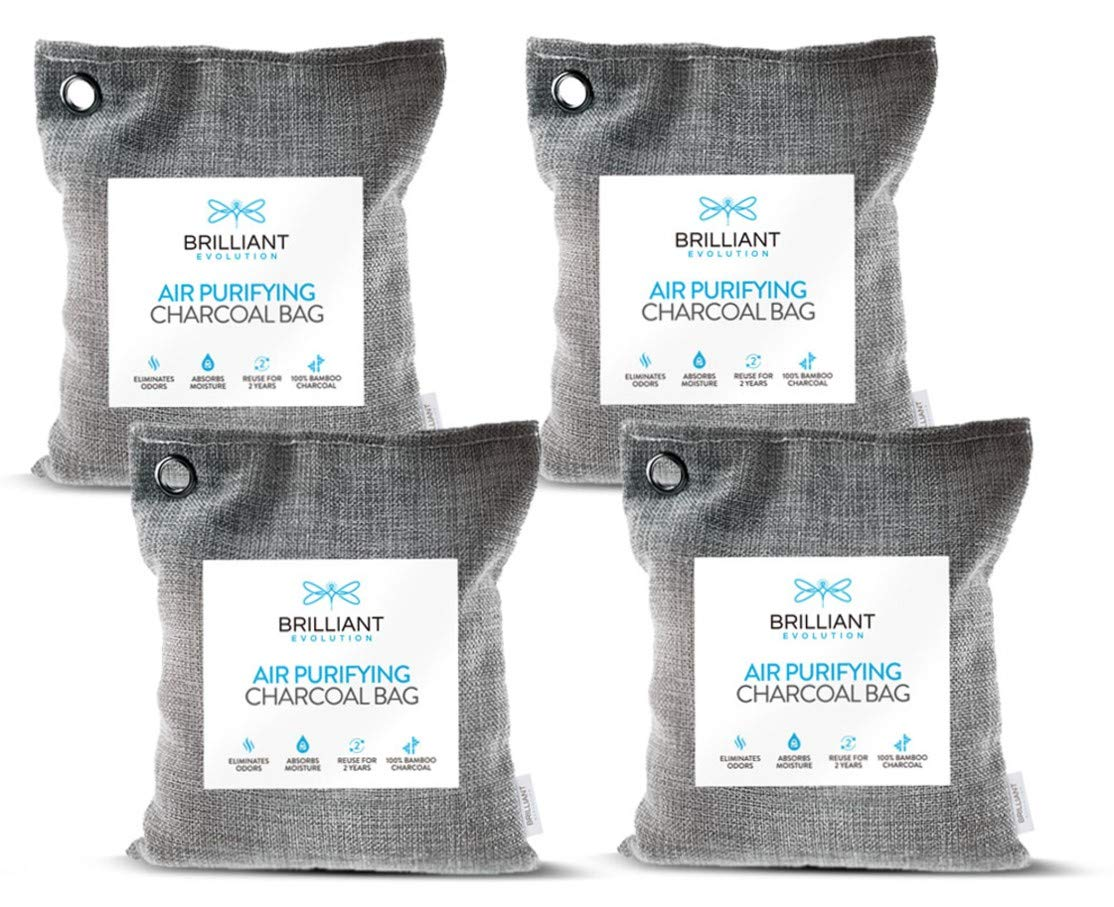 Brilliant Evolution BRRC205 Natural Bamboo Charcoal Air Purifying Bag, Odor Eliminator and Air Freshener for Cars, Closets, Bathrooms, Pet Areas and RV, 4 Pack (4 Bamboo Charcoal Bags), 220G
