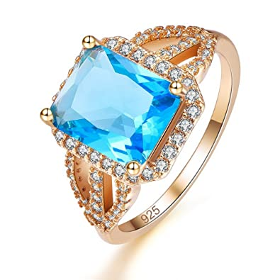 YAZILIND Rectangle Cut CZ Cubic Zirconia Ring Rhinestone Gold Plated Jewellery Gift for Women Girls Uq6IonRC