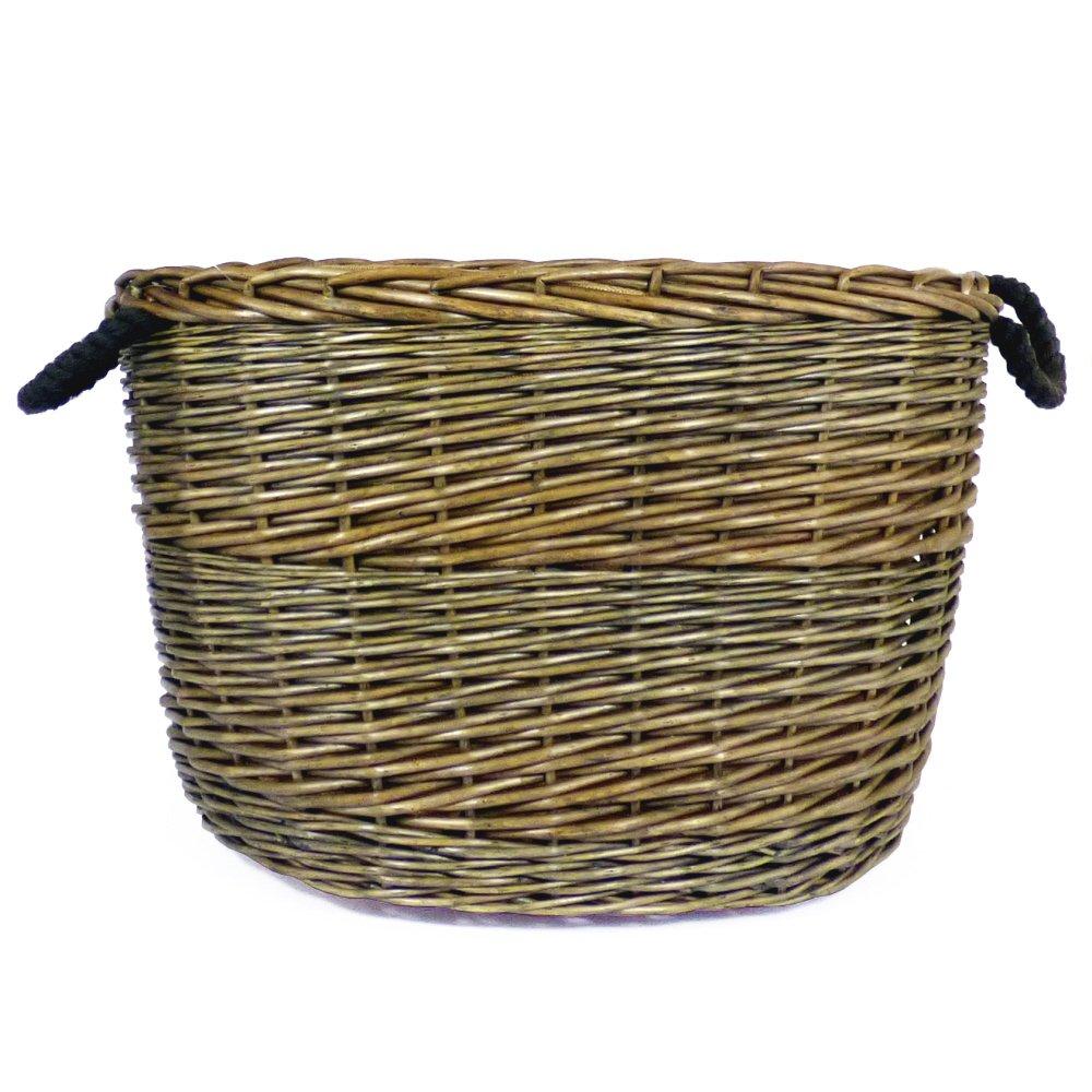 Grande envejecido acabado lavar mimbre oval cesta para almacenamiento con forro de arpillera y asas de cuerda, dimensiones 60x 47x 39–Ideas de regalo para Navidad, cumpleaños, caja de juguetes Fine Food Store