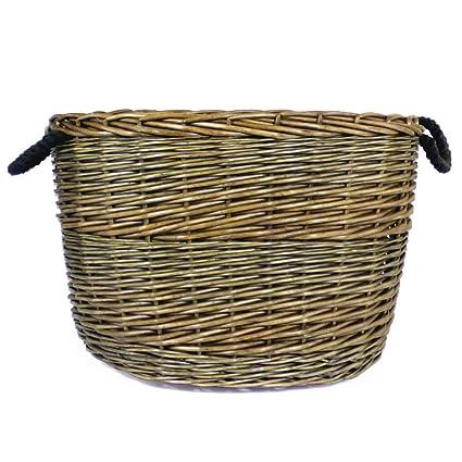 Grande envejecido acabado lavar mimbre oval cesta para almacenamiento con forro de arpillera y asas de