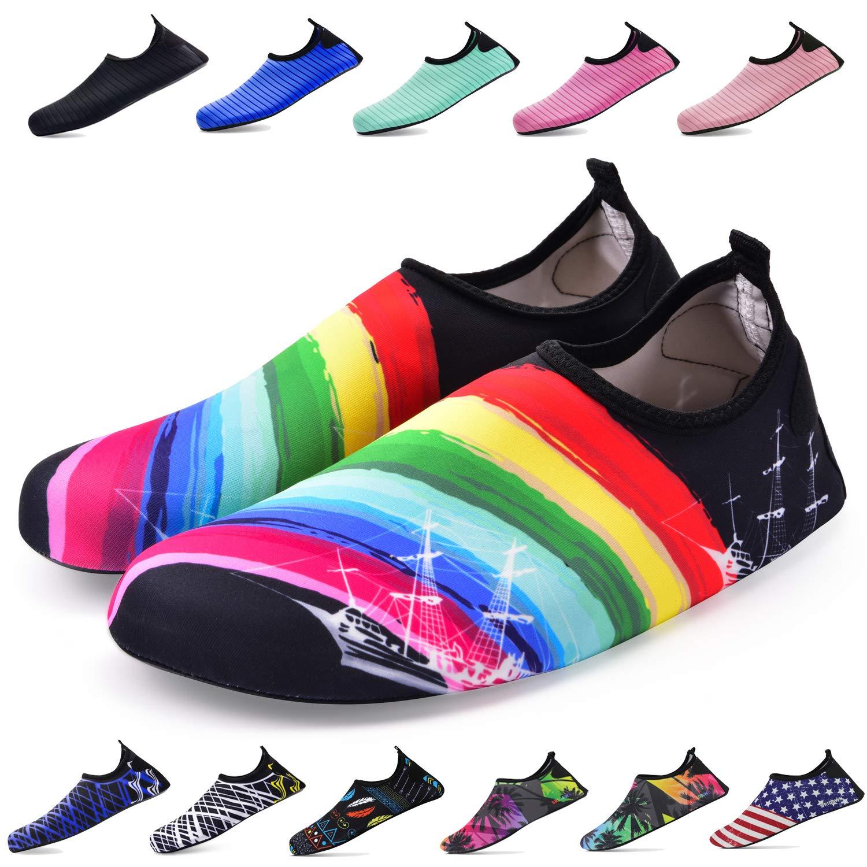 (M (US Women:7.5-8.5/Men:6.5-7.5), Rainbow) - Bridawn Water Shoes for Women and Men, Quick-Dry Socks Barefoot Shoes M (US Women:6.5-7.5/Men:5-6 ) レインボー B07DJ74ZY1