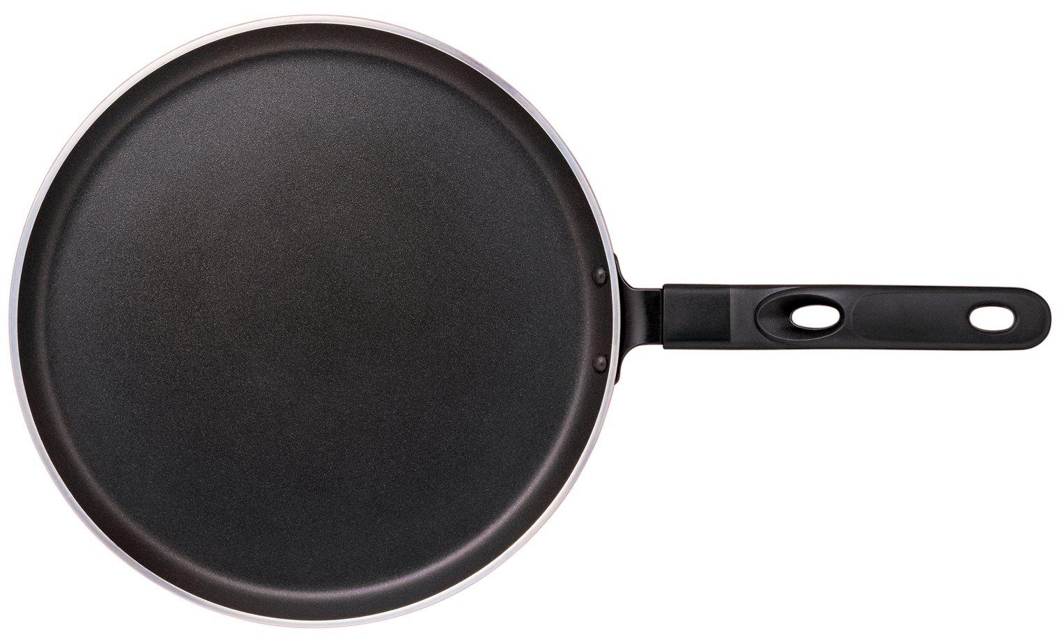 Nirali 11 inch Flat bottom crepe/pancake/dosa / chapatti pan with Teflon Platinum non-stick coating, black