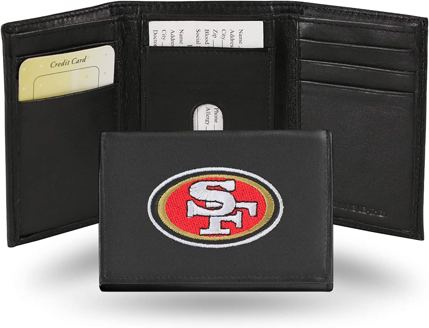 NFL Rico Industries Embroidered Leather Trifold Wallet, San Francisco 49ers , 3.25 x 4.25-inches