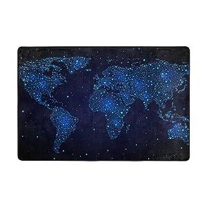 ingbags mapa del mundo salón comedor alfombra 3x 2pies cama habitación alfombra oficina alfombra moderno piso alfombra alfombras decoración del hogar, multicolor, 3 x 2 Feet