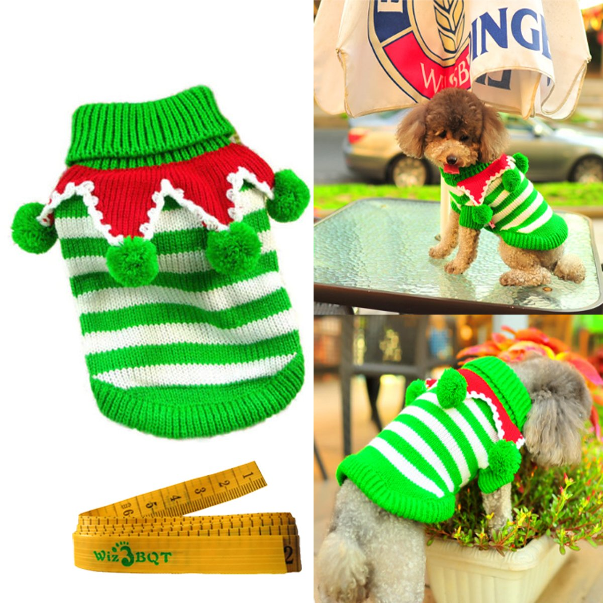 Wiz BBQT Christmas Dog Cat Pet Sweater Knitwear Outerwear with Collar and Balls for Cats & Dogs