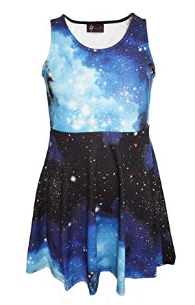 791904a5d5cb2 Girl's Children's Awesome Blue Galaxy Space Universe Print Sleeveless  Skater Dress ...