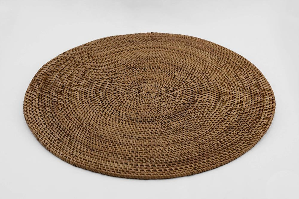 Placemats Rattan Wicker Set of 4 Place Mats Round 15 inches by Hancock
