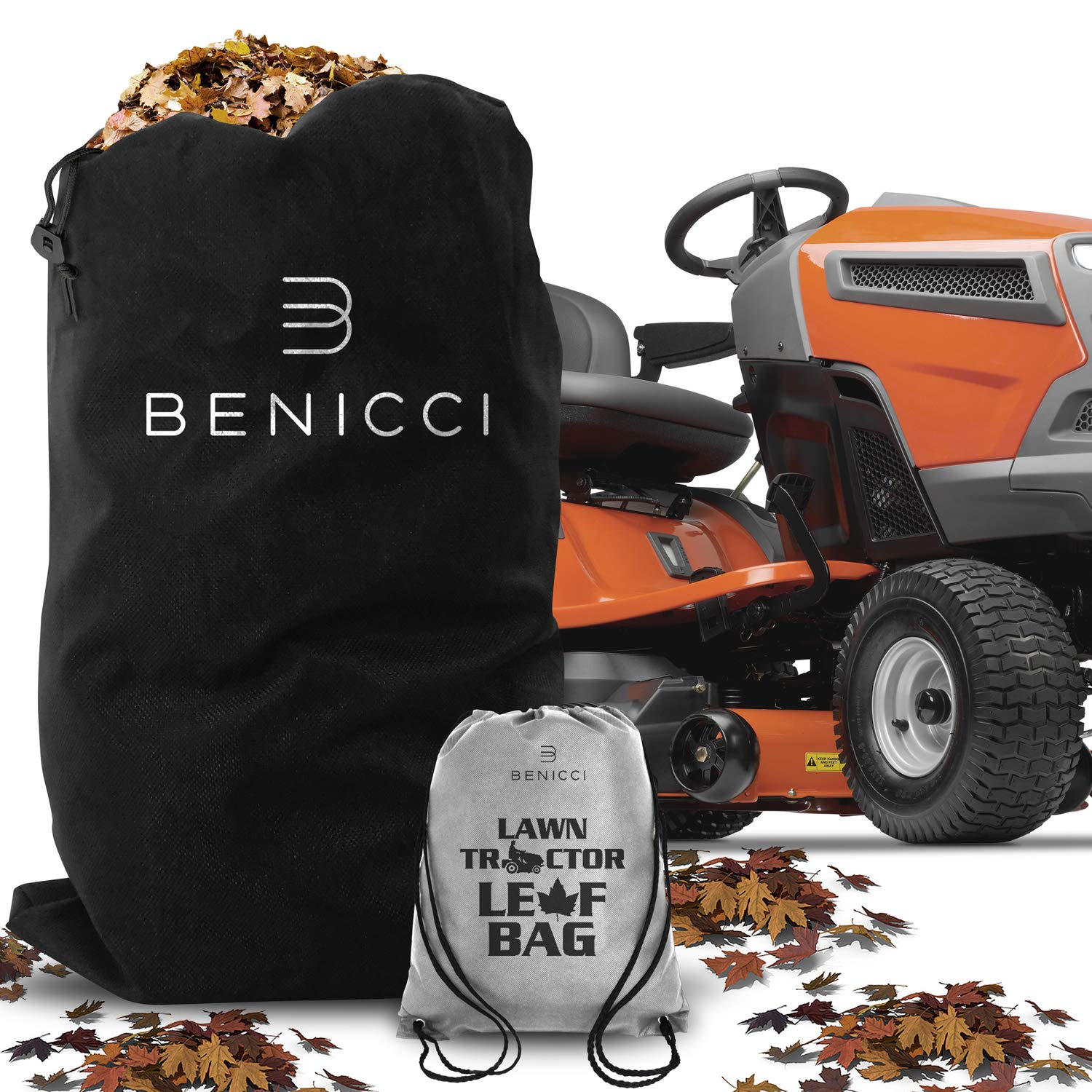Benicci Lawn Tractor Leaf Bag - Speedy Zipper for Faster Lawn Cleanup - Durable Yard Waste Bag Made to Avoid Tearing from Surface Drag - Suitable for All Lawn Tractors by Benicci